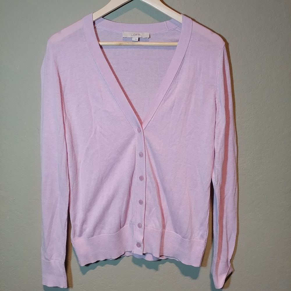 Ann Taylor Loft long Sleeve Cotton blend light Pink Cardigan ...