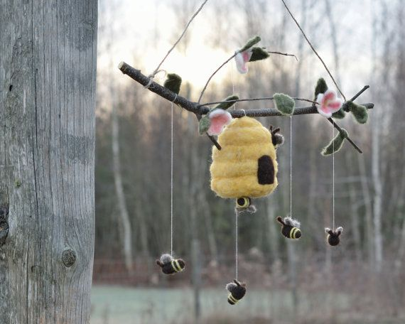 Felted Honey Bee Mobile for Baby Nursery - Eco Friendly Kids Home Decor - Golden Yellow (Ready to Ship). $155.00, via Etsy.