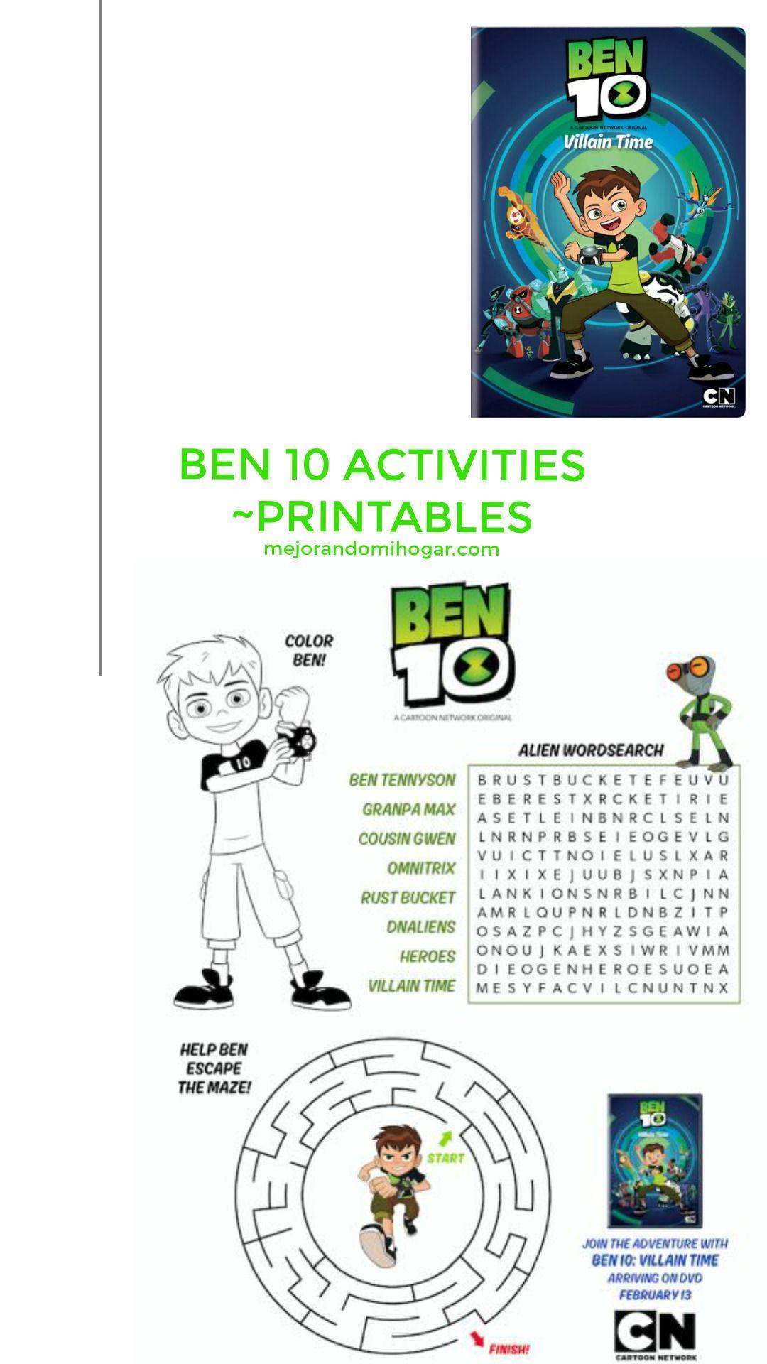 Ben 10 Villain Time Activities Actividades Imprimibles