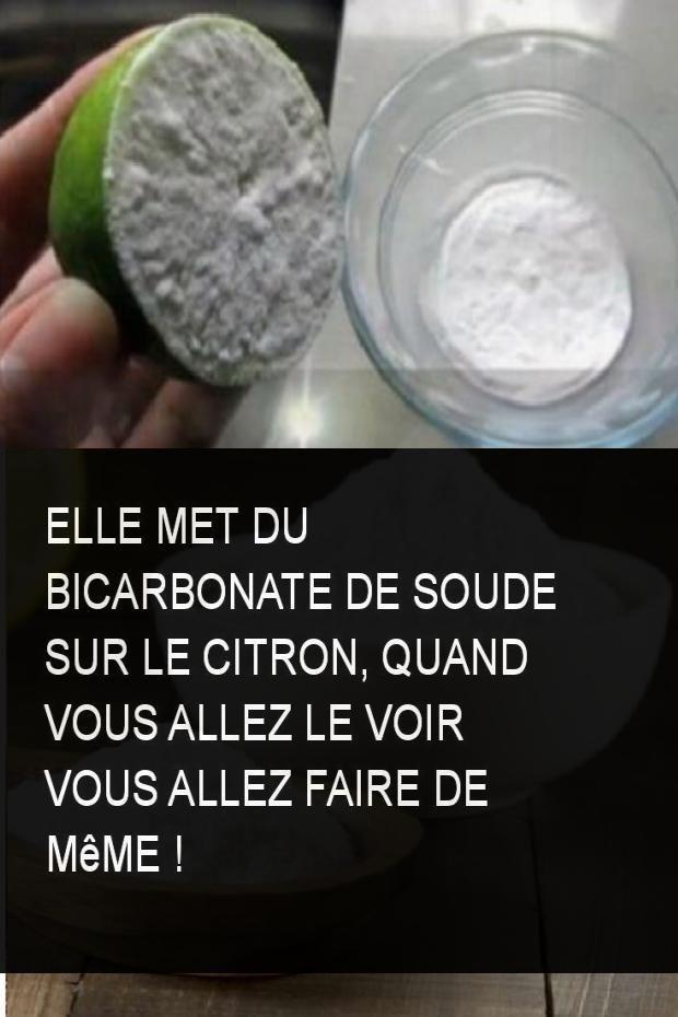 Elle met du bicarbonate de soude sur le citron, quand vous allez le voir vous allez faire de même !