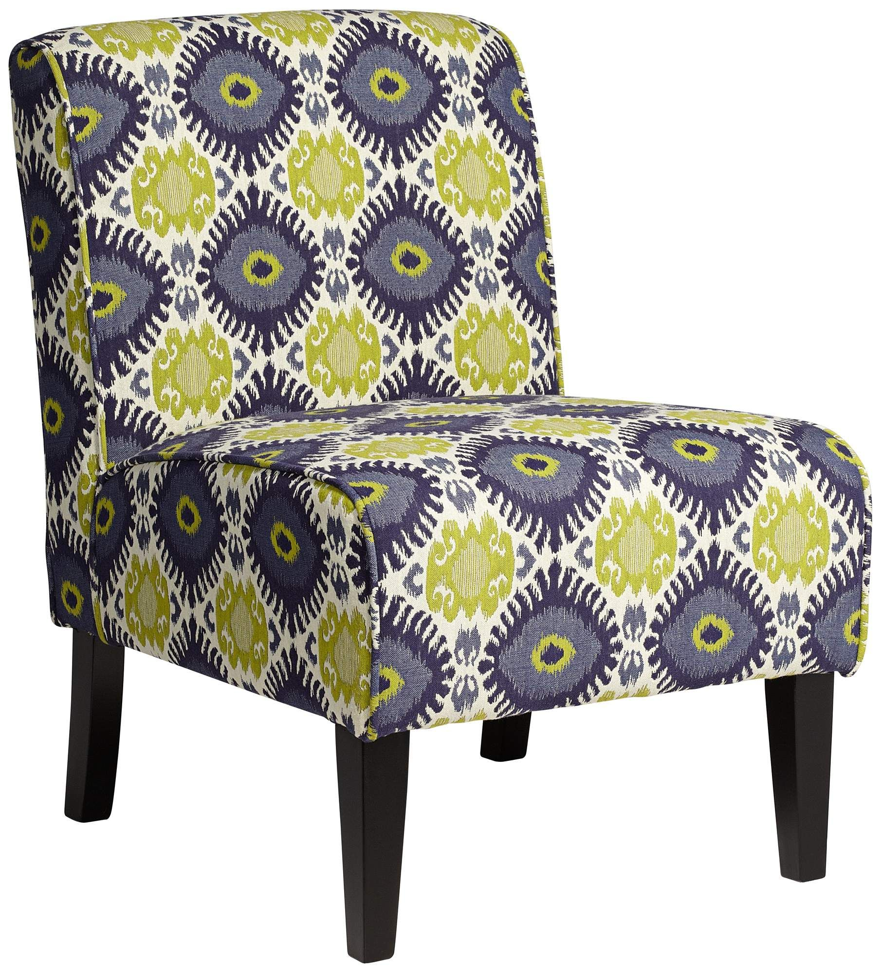 Best Cleo Green And Blue Ikat Armless Accent Chair 400 x 300