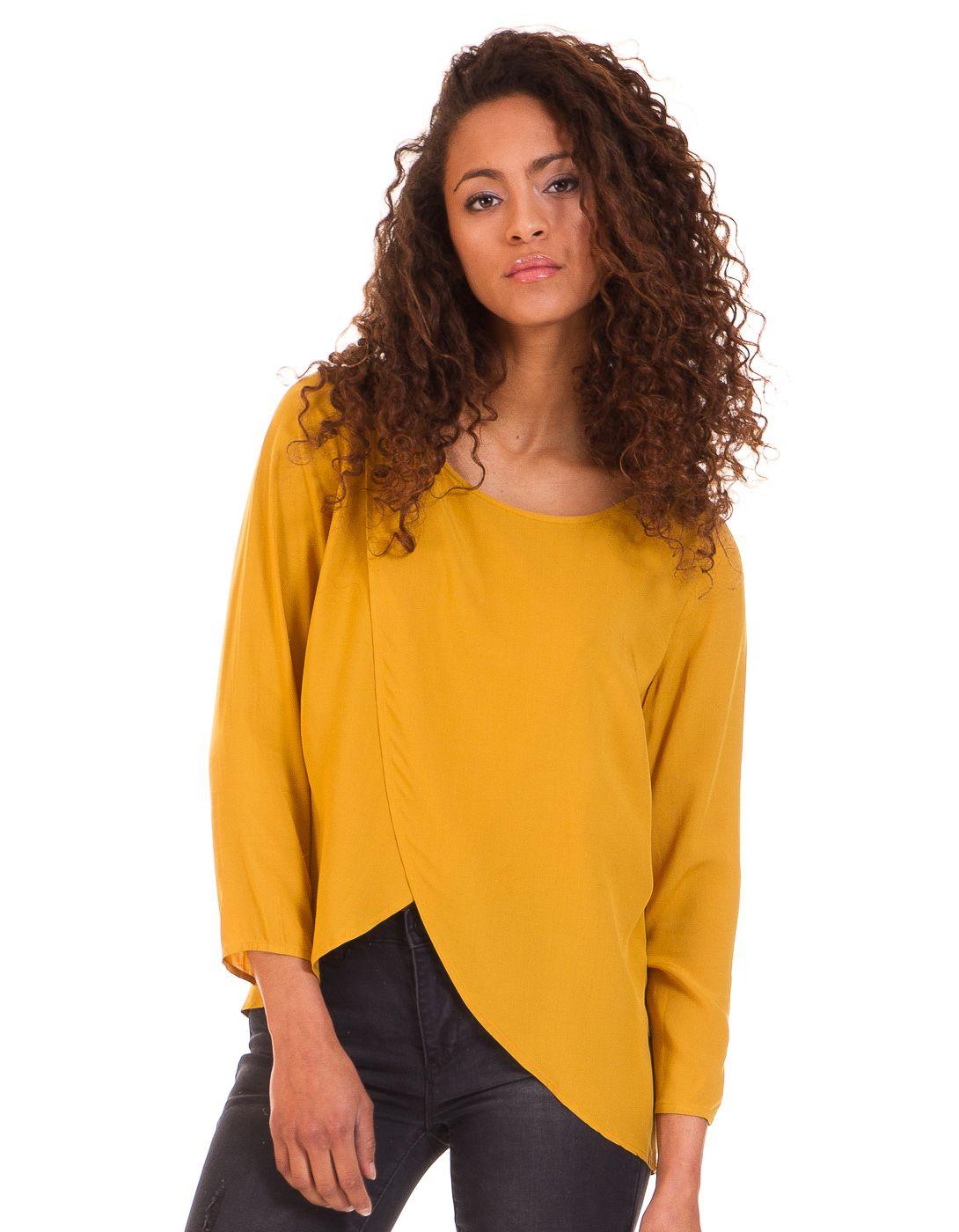 Blusa mostaza cruzada de Vila Clothes