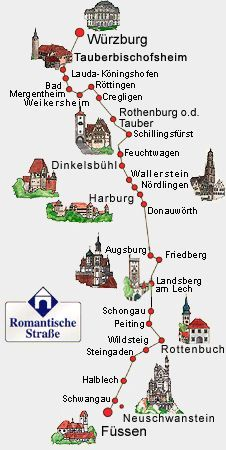 Romantic Road Romantische Strasse Map Road Romantic Romantische Strasse Romantic Road Germany Castles Germany Vacation