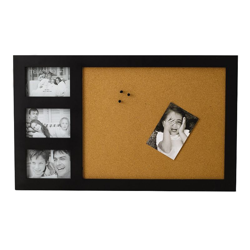 Melannco 3-Opening Corkboard Collage Frame, Black