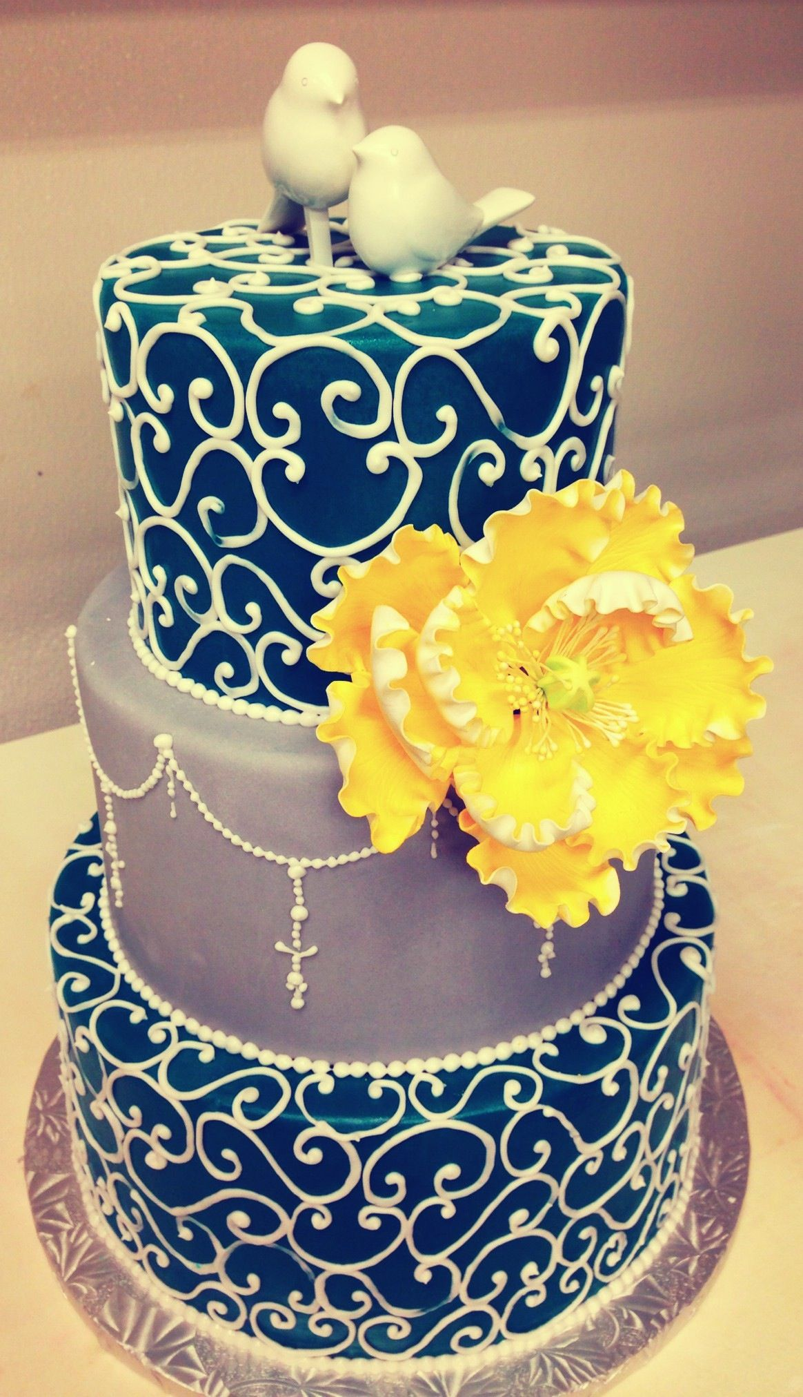 Teal grey and yellow | Wedding cakes | Pinterest | Wedding cake and ...