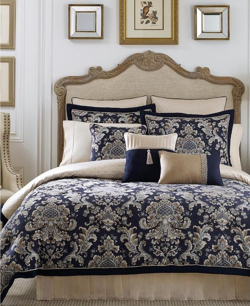 Croscill Imperial Damask Jacquard Blue 4 Piece Queen Comforter Set 420 Croscill Blue Comforter Sets King Comforter Sets Comforter Sets
