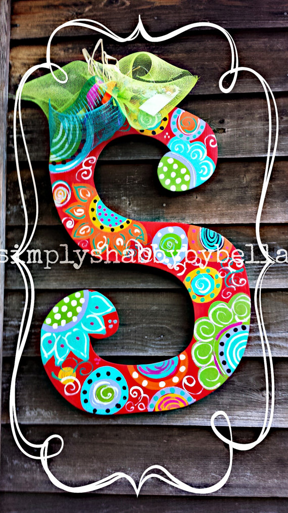 Colorful Personalized Wood Letter Initial Door Hanger
