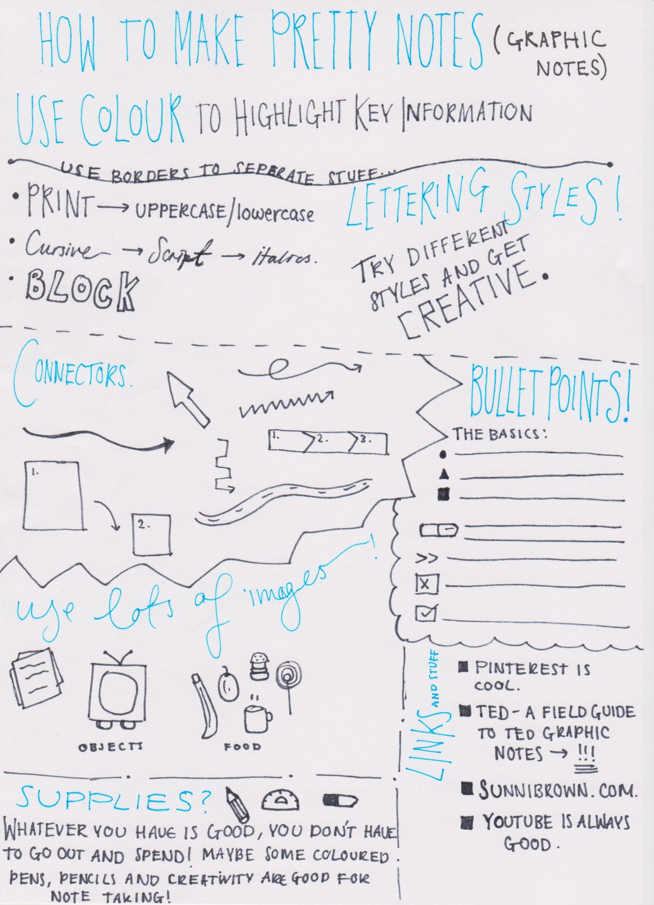studyspoinspo:how to make pretty notes (graphic notes)