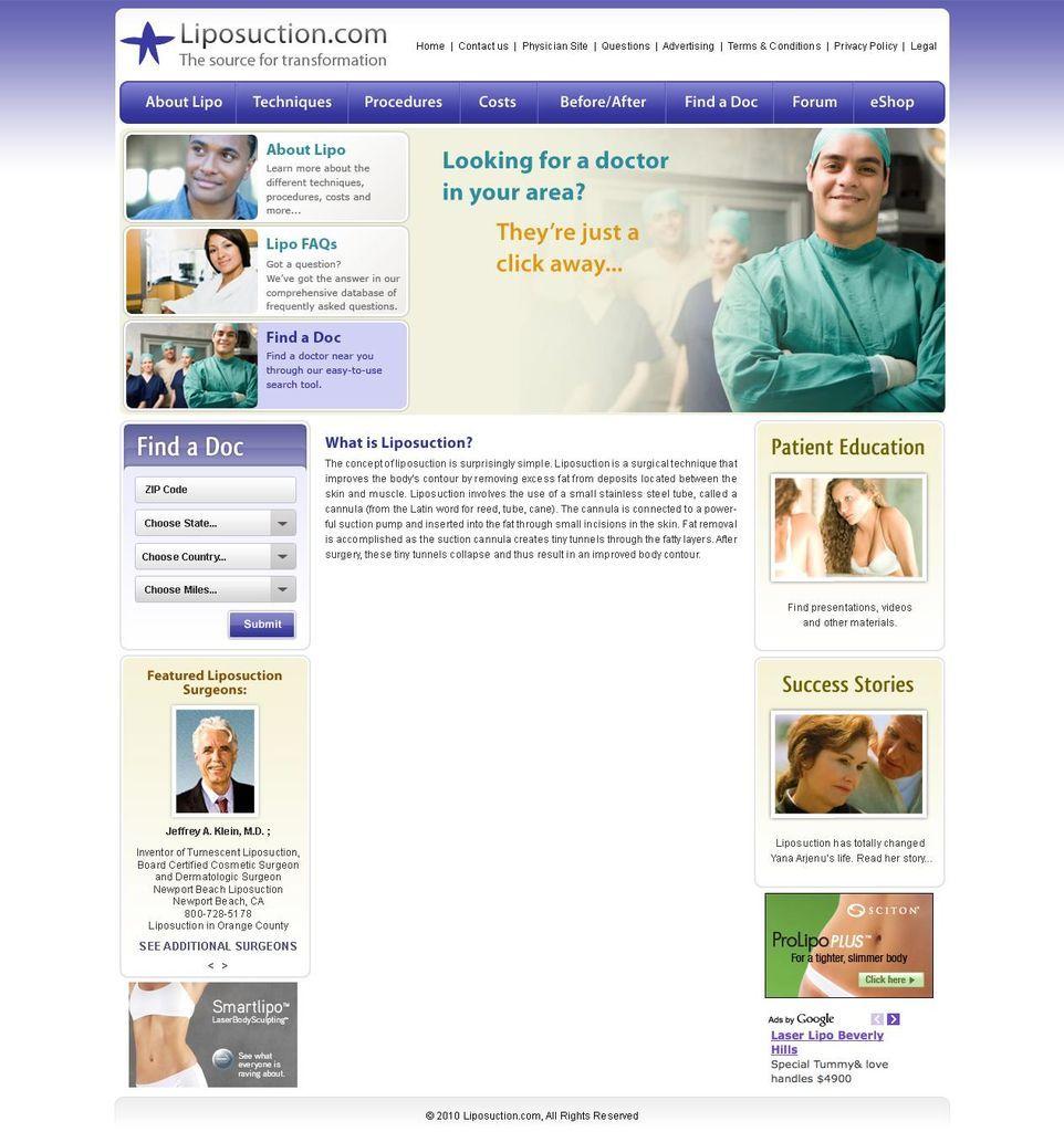Liposuction Com Medical Website Design Liposuction Patient Education