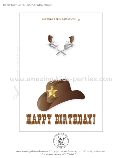 Free Printable Western Birthday Cards From Amazing Kids Parties