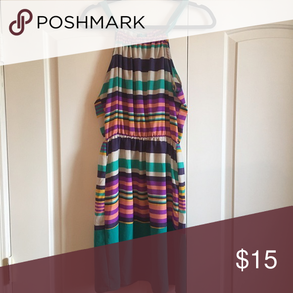 Multi-colored striped summer dress This vivid color combo striped dress is perfect for any summer day outing. It hits above the knee. Light, flowy fabric (polyester). Worn once, like new. i.ner Dresses Mini