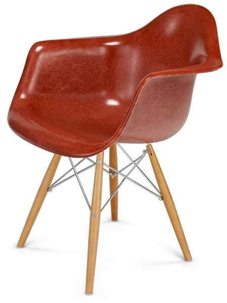 fiberglass shell chairs. love this warm terracotta color // fiberglass shell chair - arm dowel base dax chairs !