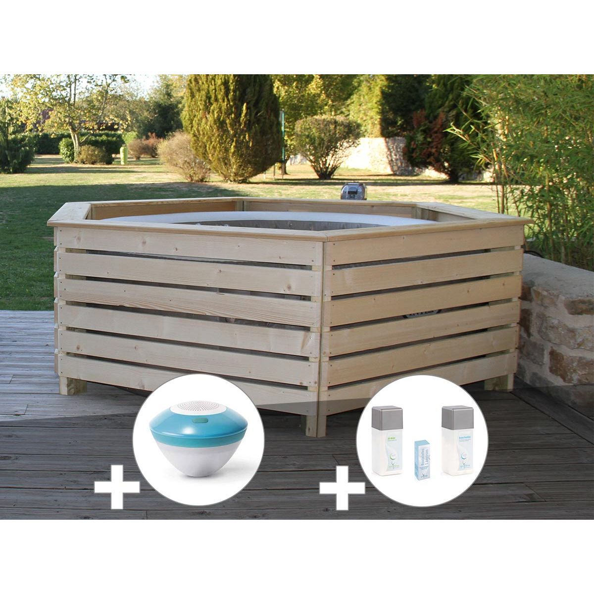 Pack Spa Gonflable Intex Purespa Rond Bulles 4 Places Habillage