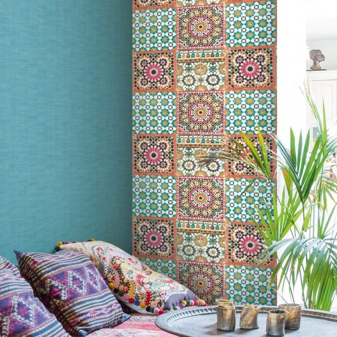 Grandeco Botanical Moroccan Tile Pattern Wallpaper Retro Floral Ba2504