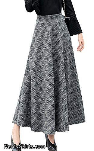 720d7ec699 chouyatou Women's High Waisted Maxi A-Line Check Plaid Wool Skater Skirt  Pocket