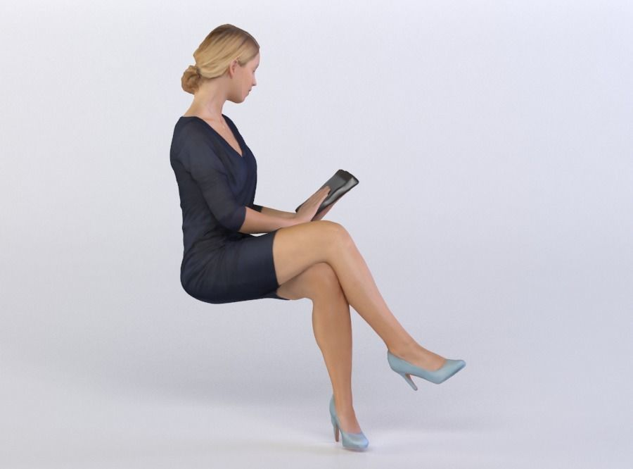 Celina 0494 Woman Sitting Reading On A Tablet 3d Model People Cutout People Png Vector Illustration People