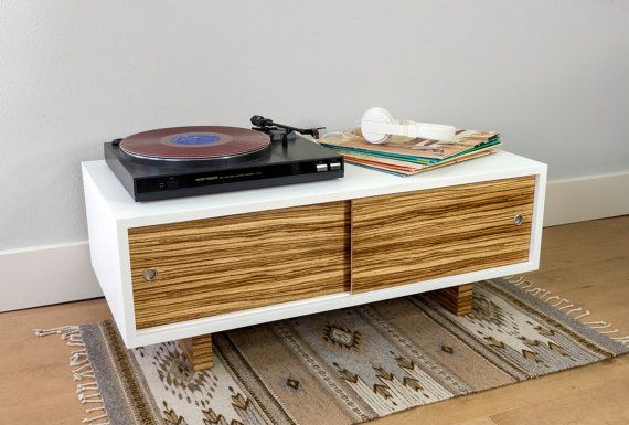 Record Player Stand And Media Console With Sliding Doors And Wood