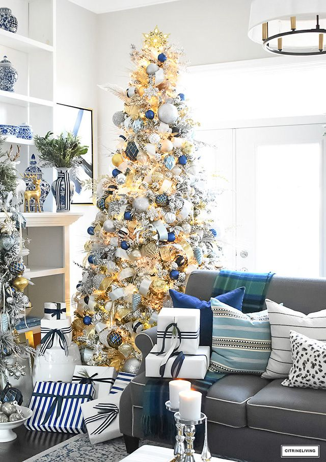 FLOCKED CHRISTMAS TREE WITH NAVY, LIGHT BLUE, SILVER AND ...