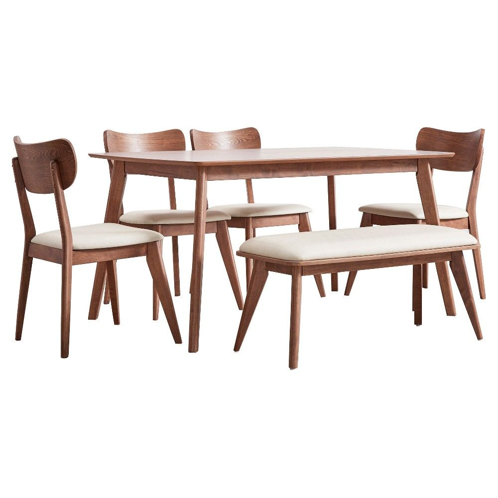 Parker Mid Century 6-Piece Dining Set - Walnut (Brown) - Inspire Q