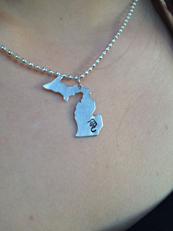 Michigan Detroit Stamped Necklace by 28DesignBoutique on Etsy
