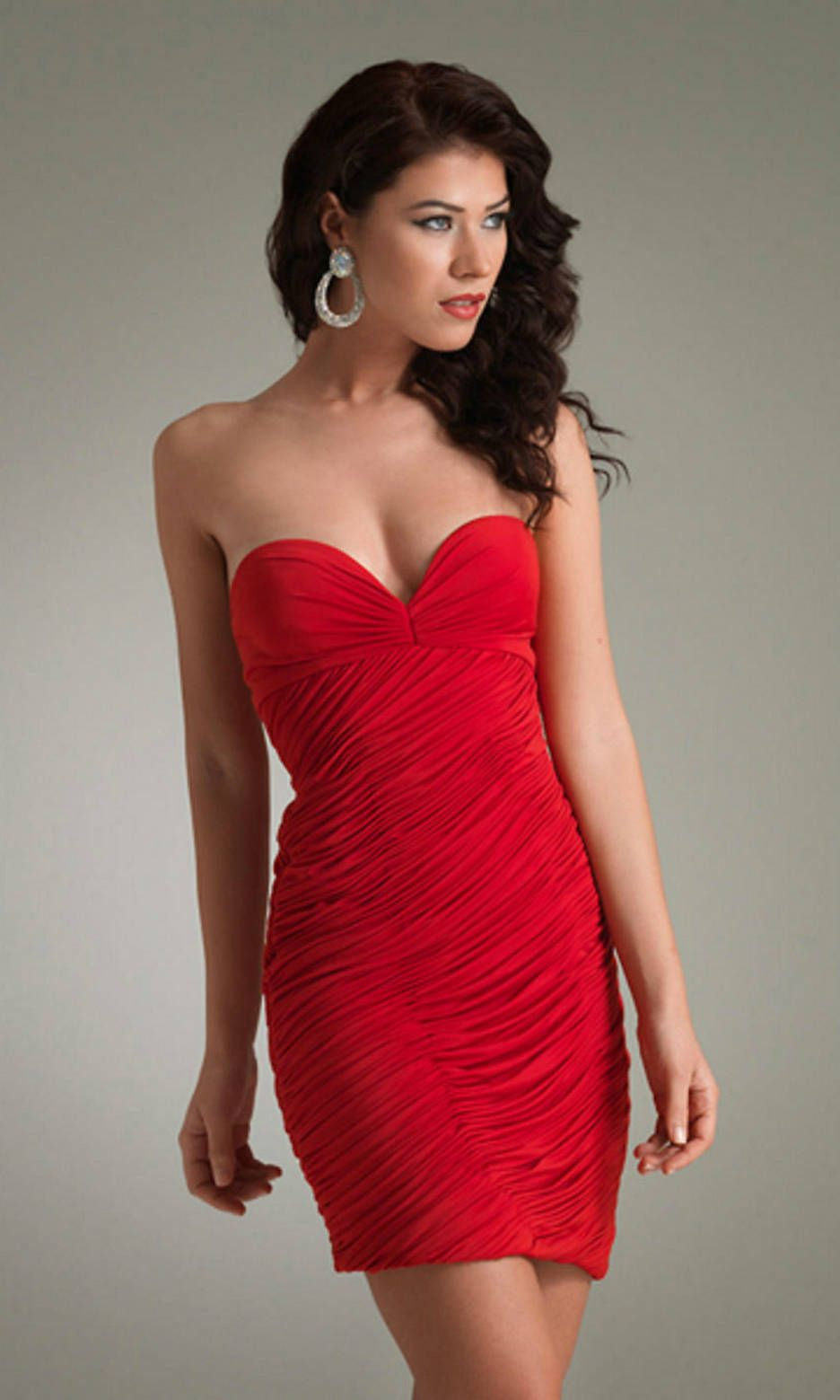 Short Strapless Sweetheart Ruched V Neck Backless Red Prom Dress ...