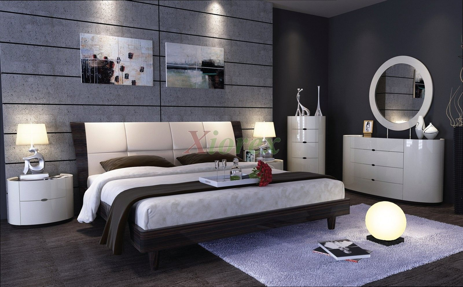 Gray Wall For Contemporary Bedroom Sets With Oval Wall Mirror And Bedroom  Vanity White Color Also Wood Floor   Contemporary Bedroom Sets For Simply  Stunning ...