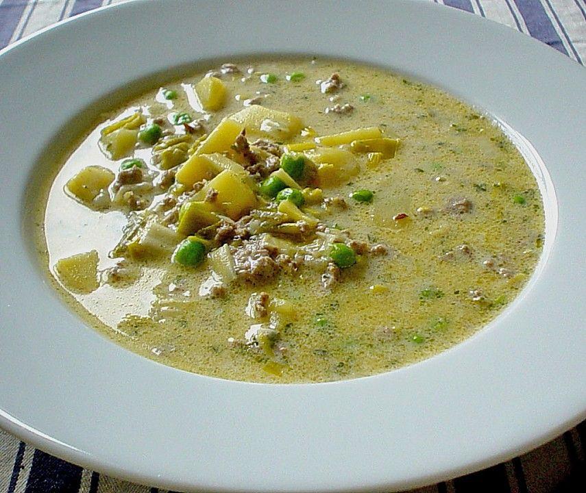 Chefkoch.de Rezept: Käse - Hackfleisch - Suppe mit Gemüse | Suppen ...