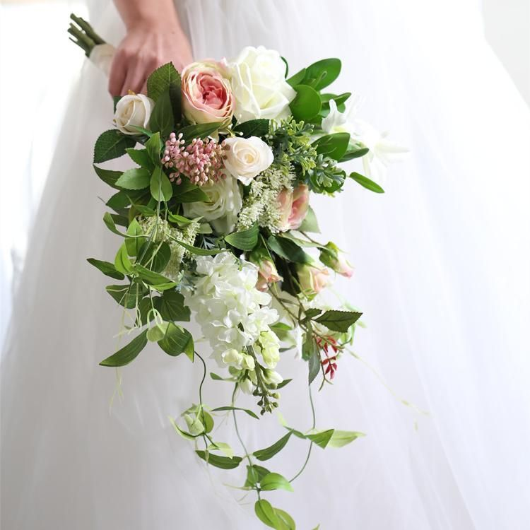 Wedding Bouquet Pink White Greenery Bridal Bouquet 15 7 Tall In