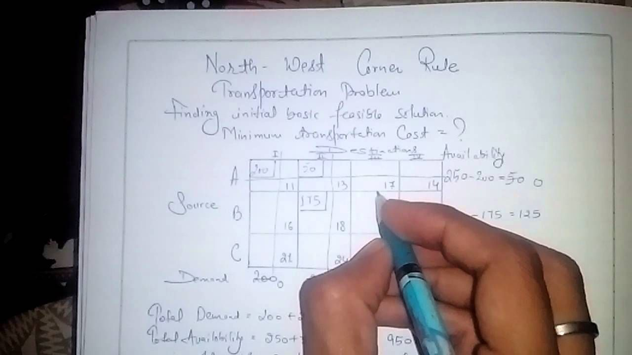 How To Solve A Transportation Problem Using North West Corner Rule