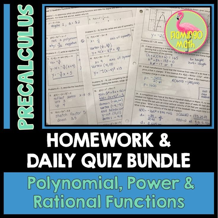 Polynomial Power and Rational Functions Homework (PreCalculus - Unit