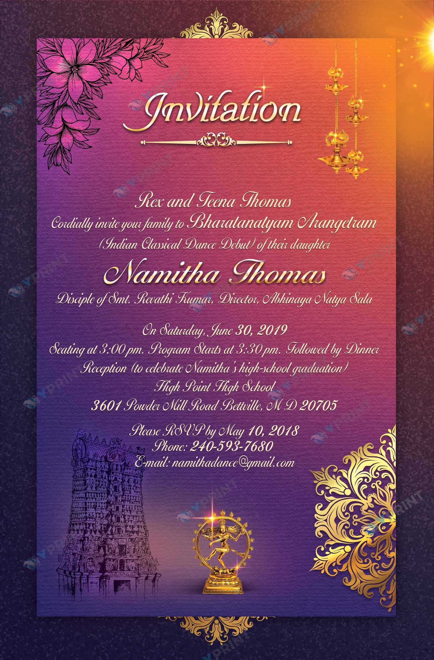 Rangapravesam Invitation Card, Kuchipudi Rangapravesam Invitation
