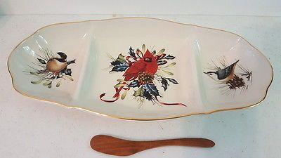 Lenox china winter greetings divided oval dish christmas w wood lenox china winter greetings divided oval dish christmas w wood spoon m4hsunfo