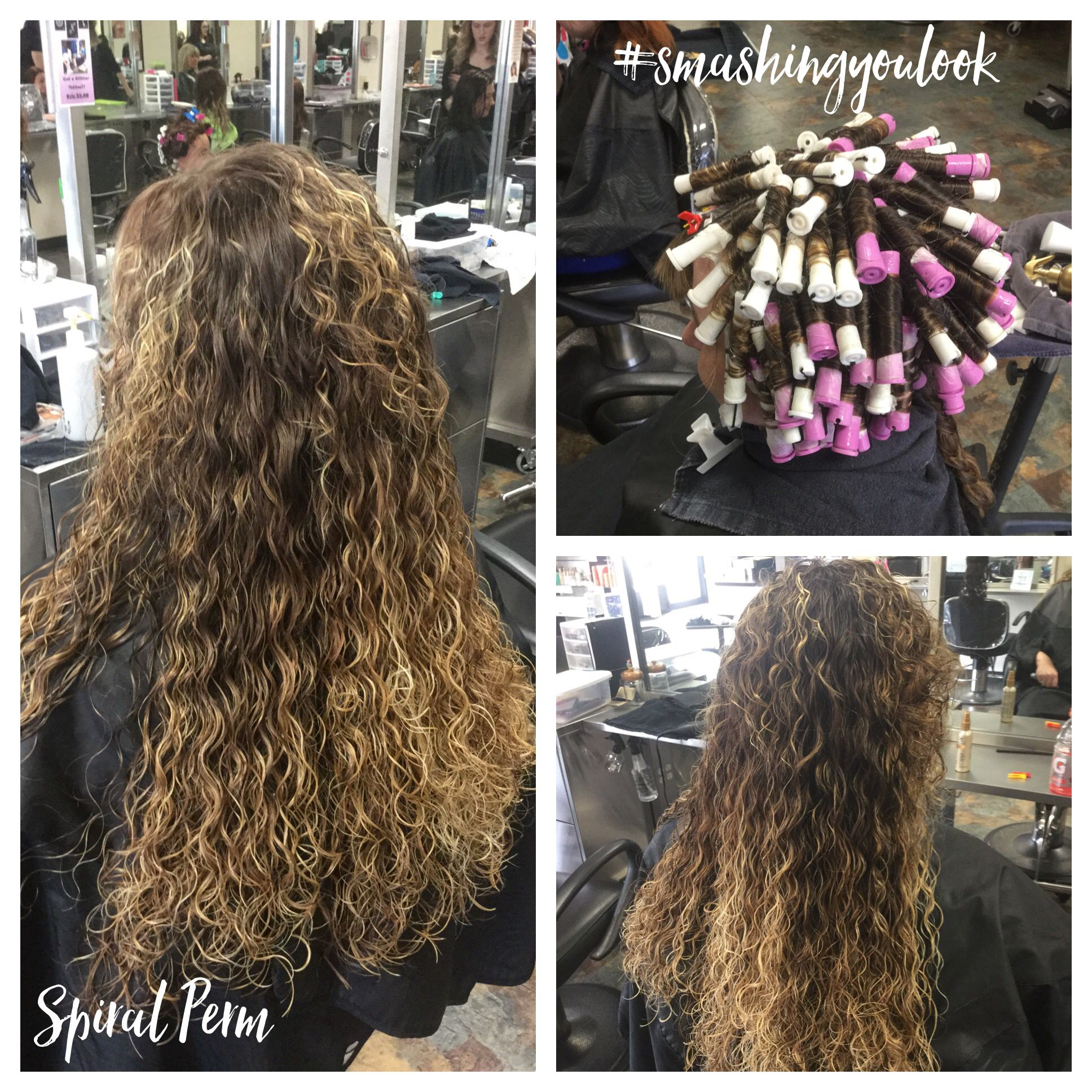 Spiral Perm Using Purple And White Rods Used Quantum Extra Body 5 18 16 Spiral Perm Medium Hair Styles Permed Hairstyles
