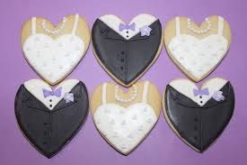 Image result for heart shaped bride and groom cookies