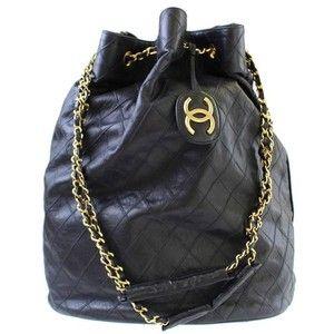 863c8109deac Preowned Chanel Vintage Black Lambskin Jumbo Bucket Weekender Travel  Shoulder Chain Bag