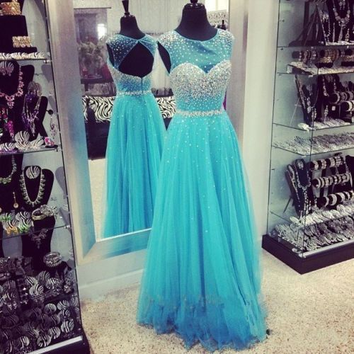 NEW Long Blue Beaded Evening Dresses Open Back Tulle Prom Dress Custom Size 2-24 #Unbranded #BallGown #Formal