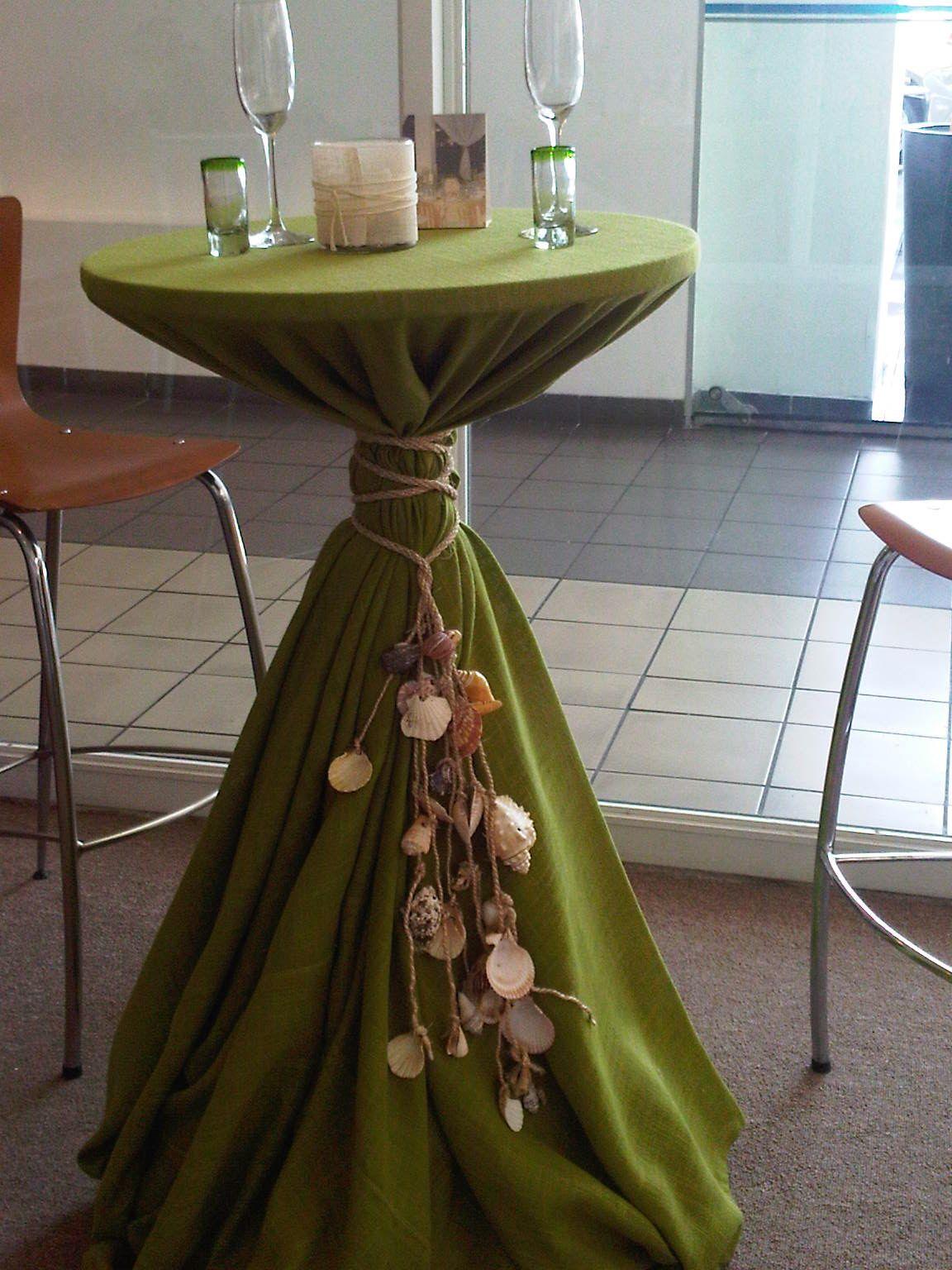 Out door weddings mesa coctelera con mantel de yute color verde manzana y lazo coach chef - Mantel para mesa exterior ...
