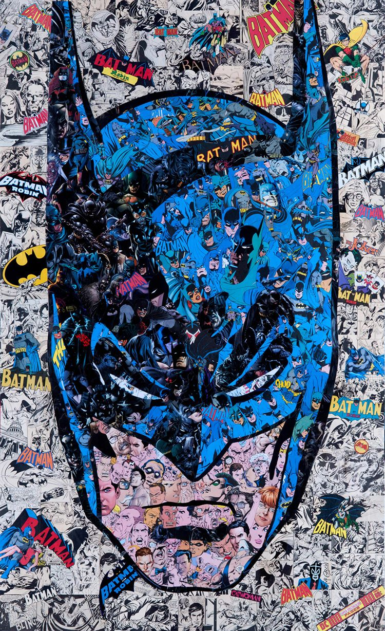 A Collage Portrait of Batman Pieced Together Using Cut-Up Pages From 'Batman' Comic Books