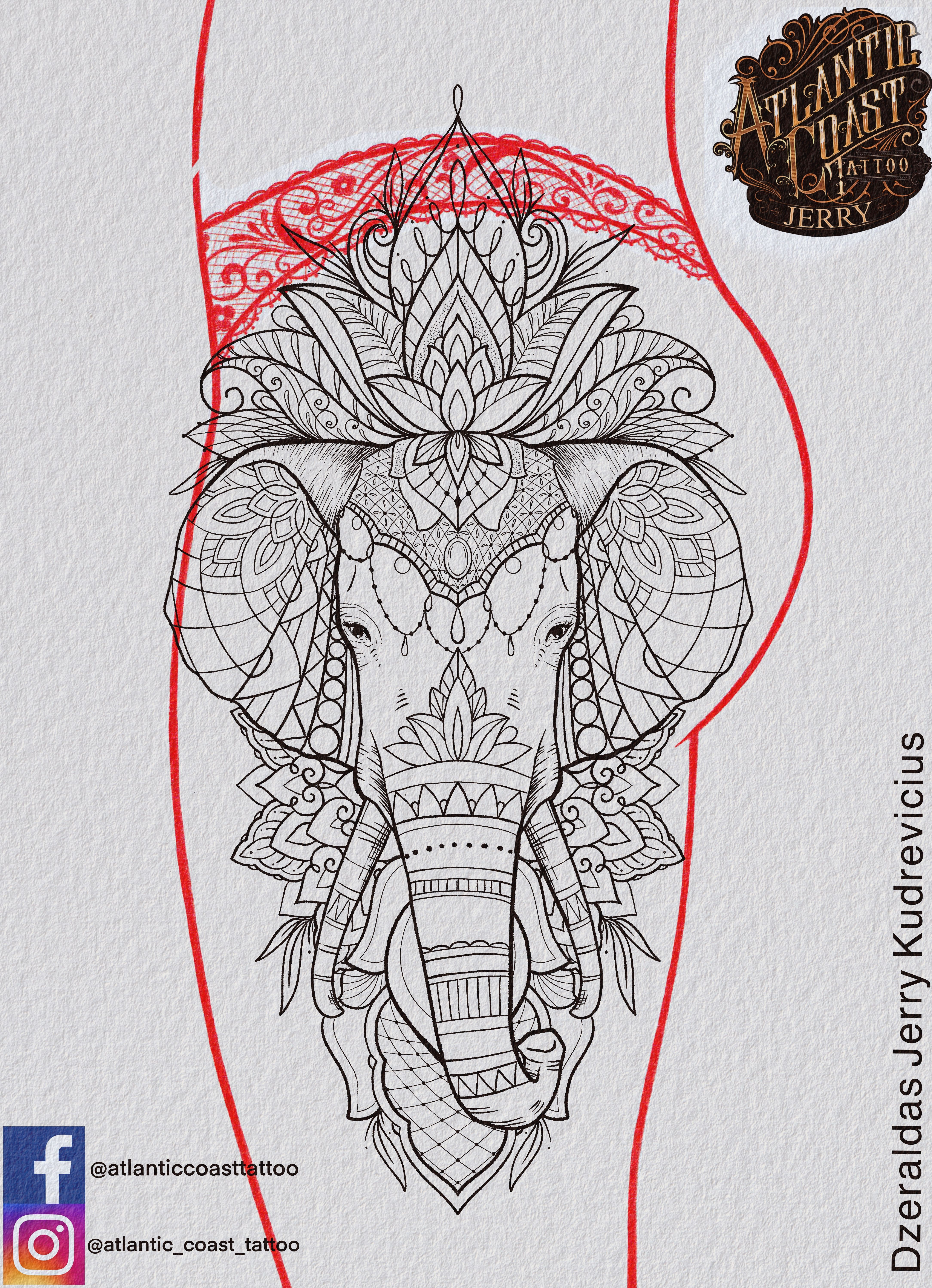 Photo of Elephant tattoo idea design, thigh tattoo mandala lace blackwork lace …