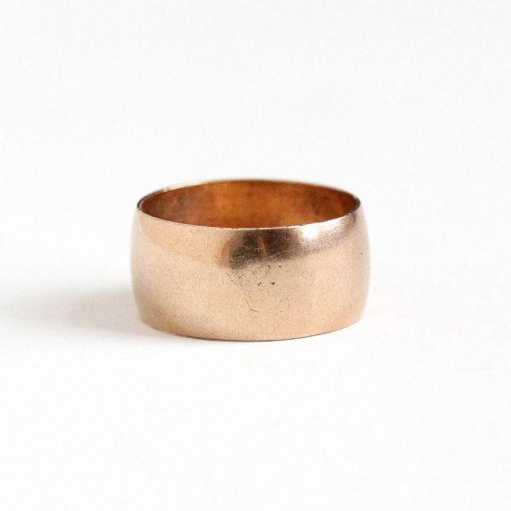 Antique 14k Rose Gold Filled Wide Ring Band Early 1900s Vintage