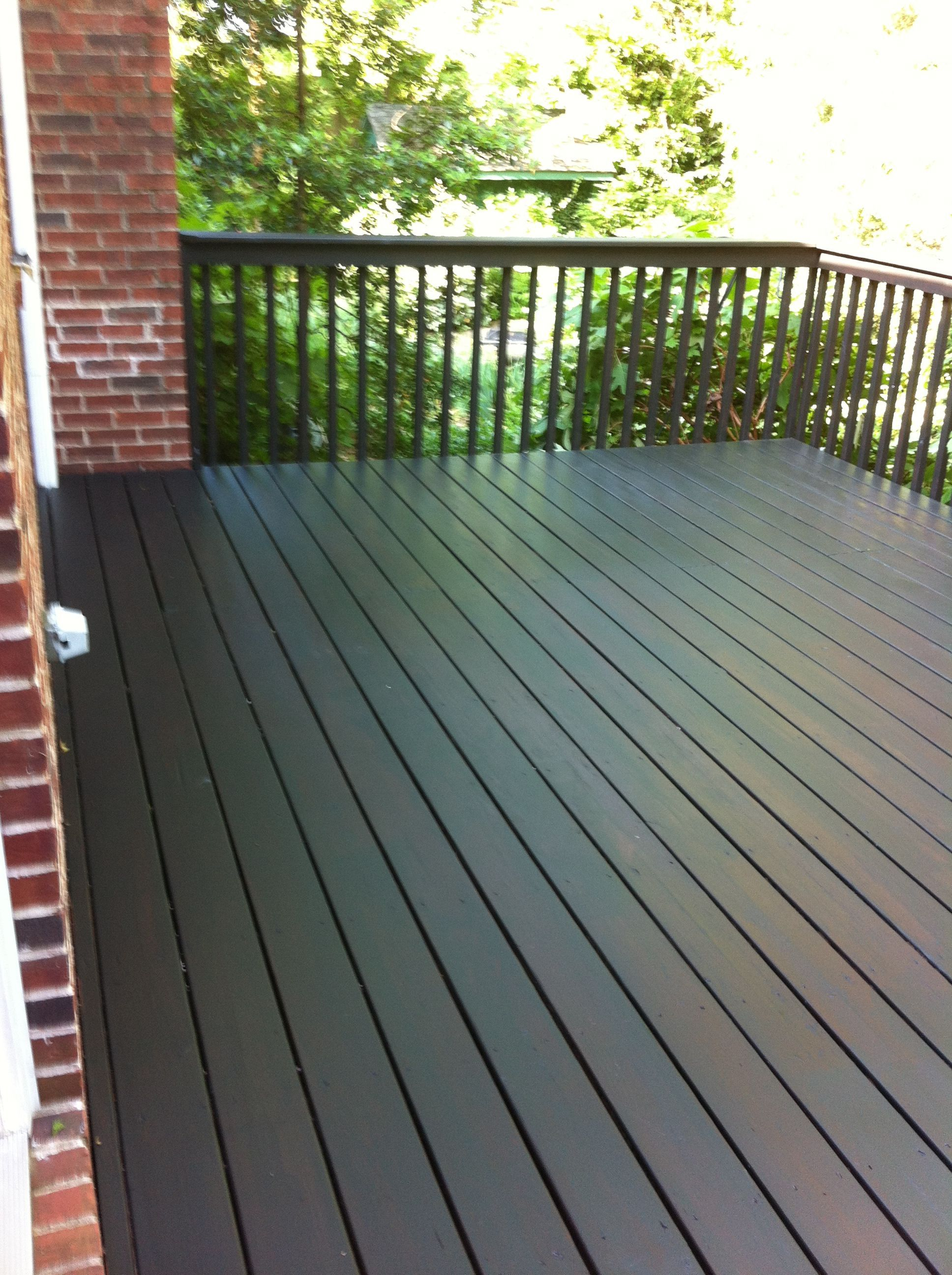 We Wound Up Using Behr Solid Stain In Slate We Chose It Because Of Intended For Measurements 1936 X 2592 In 2020 Porch And Patio Paint Painted Patio Deck Paint