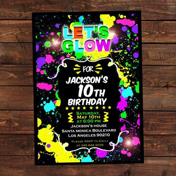 Glow In The Dark Invitations Diy Glow Party Invitations Glow