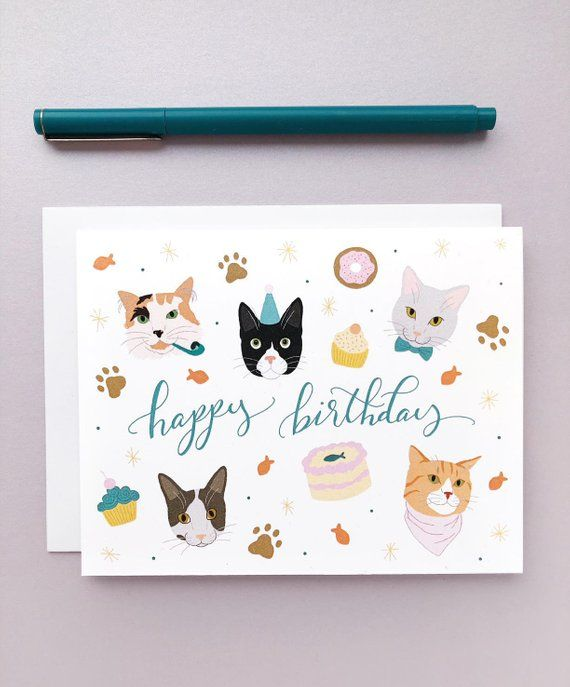 Happy Birthday Cats Card Cat Party For Lovers Pet Lover Gift