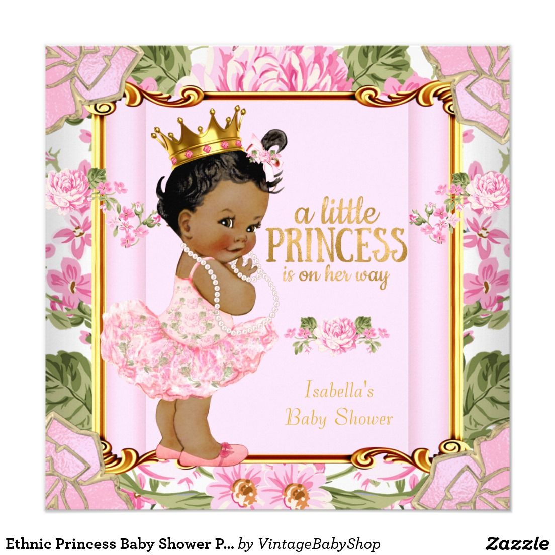 Ethnic Princess Baby Shower Pink Rose Floral Invitation   Baby ...
