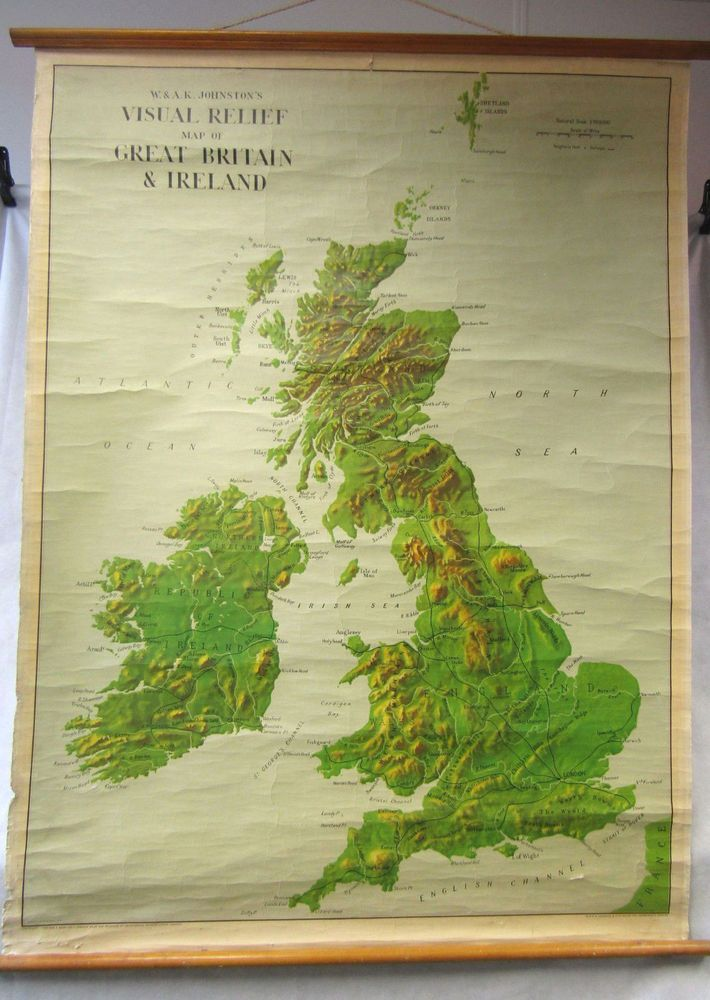 Vintage retro 1950s wall hanging school geography map great britain vintage retro 1950s wall hanging school geography map great britain ireland gumiabroncs Images