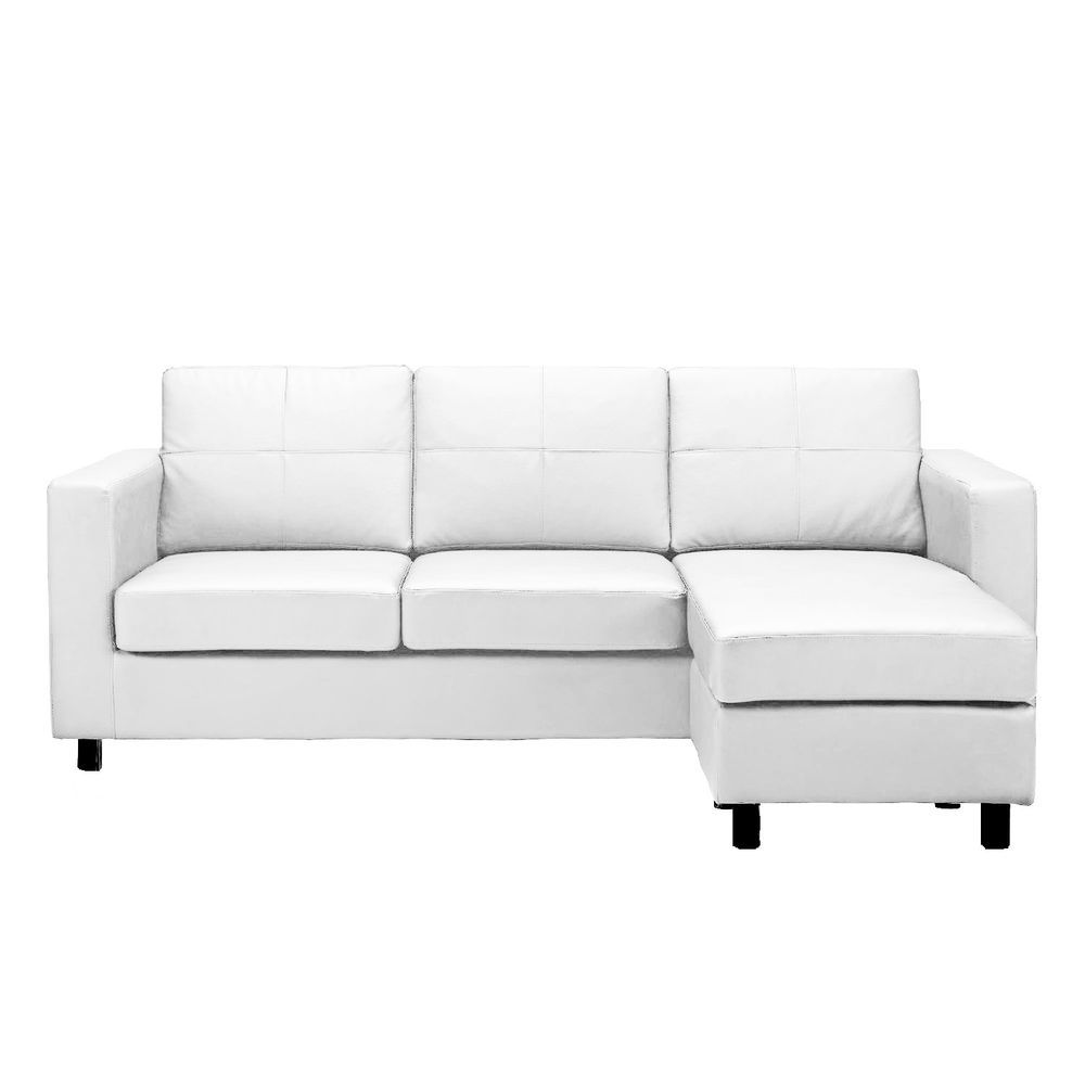 Modern White Bonded Leather Small Sectional Sofa Small Space Configurable Sofas For Small Spaces Small Sectional Sofa Sectional Sofa