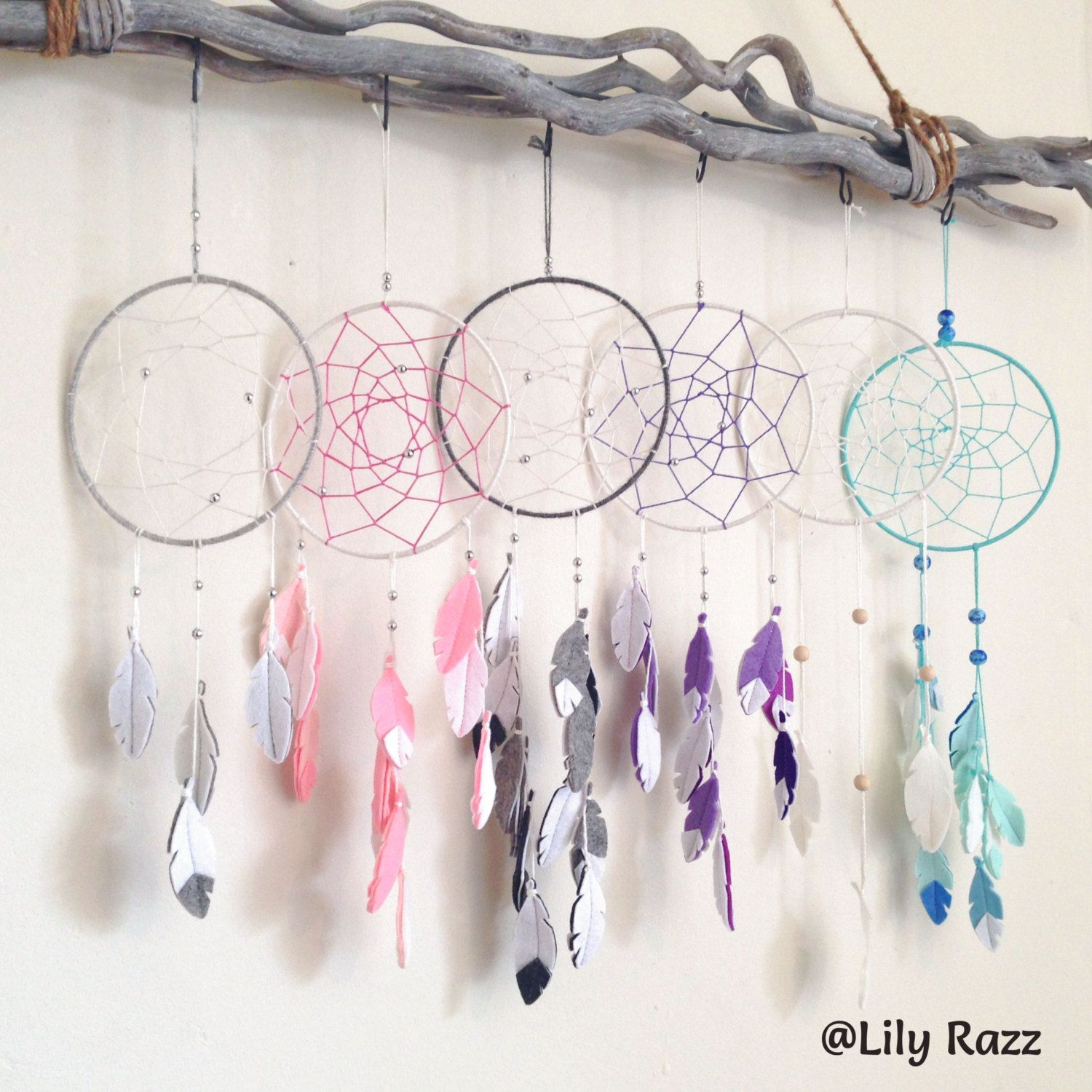 Pink Nursery Decor, Pink DreamCatcher, Dream Catcher Decor, Wall Hanging, Handmade dream catcher, Unique Gift, Pink Gift, Girl Nursery - pinned by pin4etsy.com