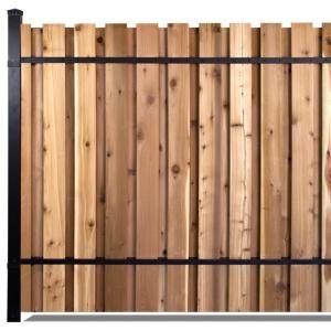 Slipfence 6 Ft X 8 Ft Black Aluminum End Post Fence Panel Kit