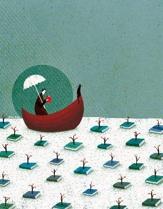 """Ilustración """"Navegando entre libros"""", de Roger Ycaza"""