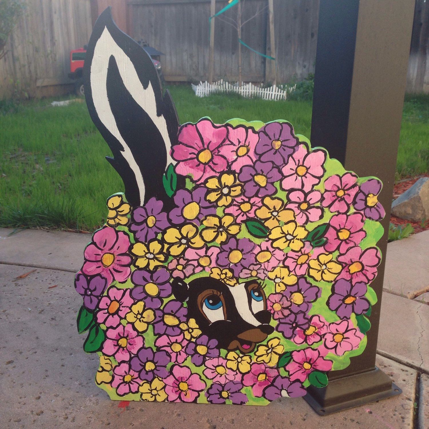 Wood yard decorations - Adorable Wooden Cutout Of Flower The Skunk From Bambi By Befestiveyardart On Etsy Https